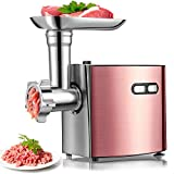 Electric Meat Grinder | cheffano ALTRA Home use Sausage Maker Machine & Kubbe Kit, 2 Stainless Steel Blades, 3 Size Plates | Grinder Meat with Copper Motor - Rose Gold