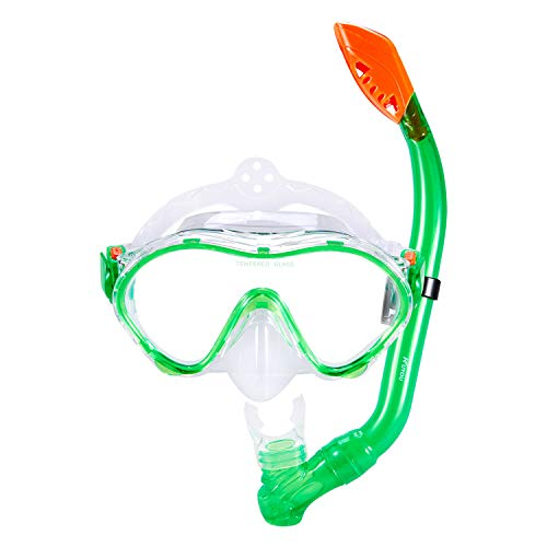 KUYOU Snorkel Set for Kids,Dry Top Snorkel Mask - Anti-Fog and Anti-Leak Easy Adjustable Snorkeling Gear for Children, Boys & Girls,Juniors Freediving Gear Set Age 5. (Green)