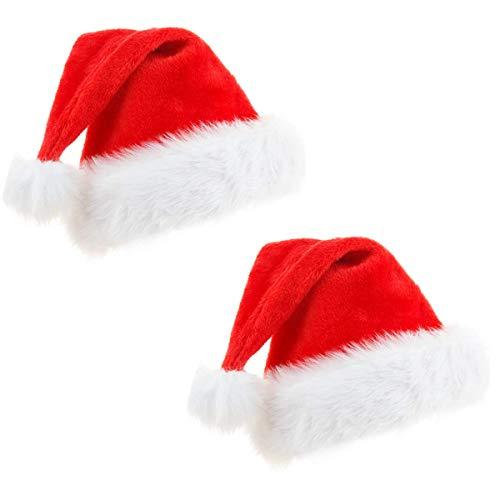 2Pack Cappello di Babbo Natale, morbido cappello di Natale in peluche, cappello di Natale per adulti, cappello di Babbo Natale comfort in velluto unisex Pelliccia classica ispessita (38X28 cm Bambino)