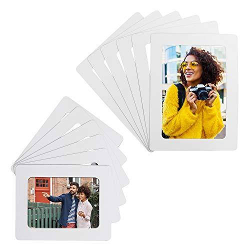 Belle Vous Set Marco de Foto Blanco Magnético para Refrigerador (Pack de 12) Portafotos para Fotos 10 x 15 cm y 9 x 13 cm - Marcos para Fotos Collage para Nevera y Superficies de Metal
