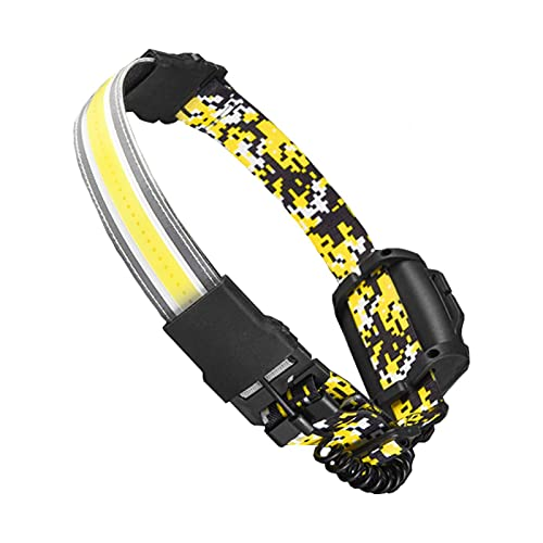 Fiacvrs Antorcha de cabeza recargable, IPX5 resistente al agua, linterna frontal LED de gran angular de 210°, más segura para taller, caminar al perro, camping, pesca (amarillo camuflado)