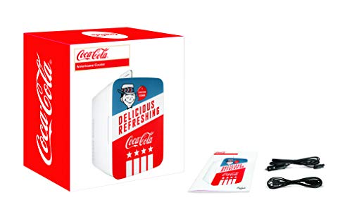 Cooluli K10LGA Mini Fridge Coca-Cola Americana Retro (10 Liter/12 Can)-Portable AC/DC Powered Cooler and Warmer for Cars, Road Trips, Homes, Offices, and Dorms