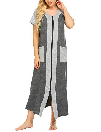 Ekouaer Zip Up Nightgowns for Women Full Length Housecoat Short Sleeve Robe(Grey,XL)