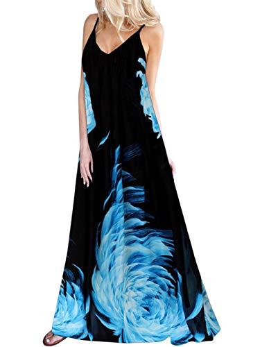 Kidsform Damska letnia sukienka w kwiaty, sukienka maxi, bez rękawów, sukienka wieczorowa, sukienka plażowa, na imprezę, szyfon
