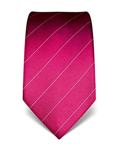 Vincenzo Boretti Herren Krawatte reine Seide gestreift edel Männer-Design zum Hemd mit Anzug für Business Hochzeit 8 cm schmal/breit fuchsia