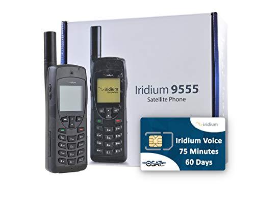 OSAT Teléfono Satelital Iridium 9555 y Tarjeta Prepago SIM con 75 Minutos / 60 Días de Validez