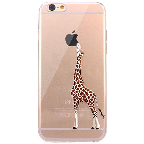 JAHOLAN iPhone 6 Case, iPhone 6S Case Amusing Whimsical Design Clear Bumper TPU Soft Case Rubber Silicone Skin Cover for iPhone 6 6S - Eating Giraffe