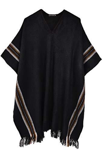 Gamboa - Ciepłe i miękkie rustykalne alpaka V ponczo dla mężczyzn - gładki czarny z pionowymi paskami w kolorze brązowym i białym. Z frędzlami na dolnej krawędzi