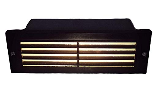 HC Light Large Step Light Box with Heavy Duty Cast Brass Cover in Antique Bronze Finish with Easy Install 2 Watt (35 Watt Halogen Equivalent) (12V) Low Voltage Warm White LED (Louvered Window)