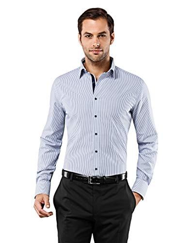 Vincenzo Boretti Herren-Hemd bügelfrei 100% Baumwolle Slim-fit tailliert gestreift New-Kent Kragen - Männer lang-arm Hemden für Anzug Krawatte Business Freizeit blau/weiß 43/44