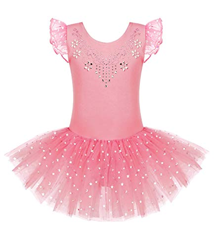 Zaclotre Kid Girls Ruffle Sleeve Ballet Skirted Leotard Shiny Dance Tutu Dresses Dark Pink