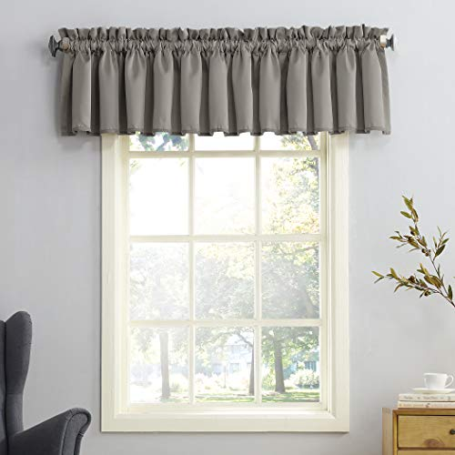 Sun Zero Barrow Energy Efficient Rod Pocket Curtain Valance, 54 x 18, Gray