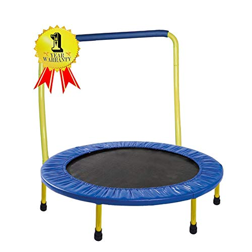JumJoe Kids Trampoline - 36 inch, with Handle bar, Safety, Portable - 1 Year Warranty. (Yellow)