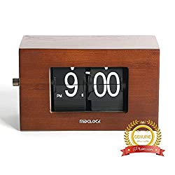 MIDCLOCK Bamboo Flip Clock, Home Décor Desk Clock, Modern Mini Clock, Retro Auto Flip Down Clock, Battery Powered, Digital Clocks for Living Room Décor (Retro Bamboo)