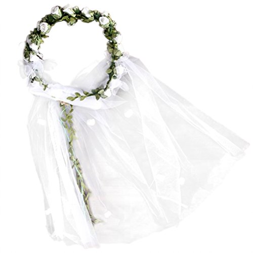 Lurrose Blumenkranz Stirnband Schleier Floral Crown Garland Hairband Haarschmuck für Hochzeit (weiß)