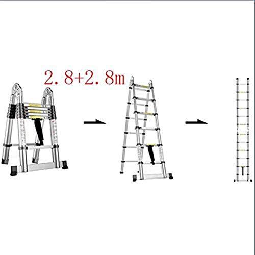 IREANJ Escalera, Multi-función Escalera Plegable de Aluminio, Escalera telescópica portátil, Bricolaje Escalera Extensible, Capacidad de Carga 150 kg Escaleras (Color : 2.8+2.8m)