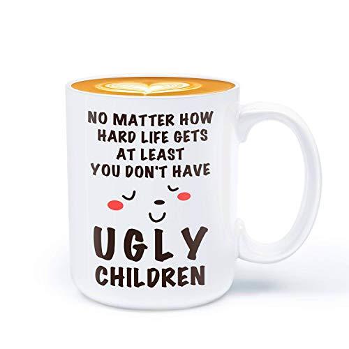 Taza de cerámica para el Día de la Madre, regalo de cumpleaños para mamá, al menos no tienes feo niños, 330 ml graciosa taza de café de cerámica regalos de Daughter Son, cerámica, Niños feos, 340 g
