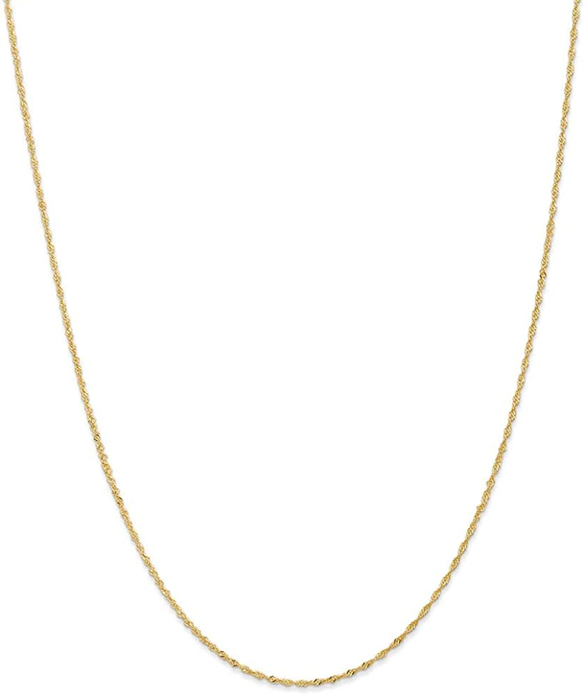 14k Yellow Gold 1.10mm Link Singapore Chain Necklace 16 Inch Pendant Charm Fine Jewelry Gifts For Women For Her