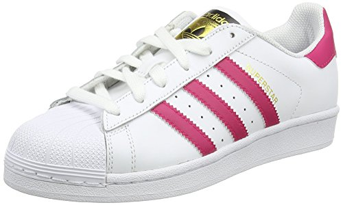Adidas Superstar Foundation, Zapatillas Unisex Infantil, Blanco / Fucsia, 36 2/3 EU