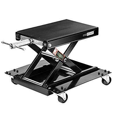 VIVOHOME 1100 Lbs Steel Wide Deck Motorcycle Lift ATV Scissor Lift Jack with Dolly and Hand Crank Bikes Garage Repair Hoist Stand Black from VIVOHOME