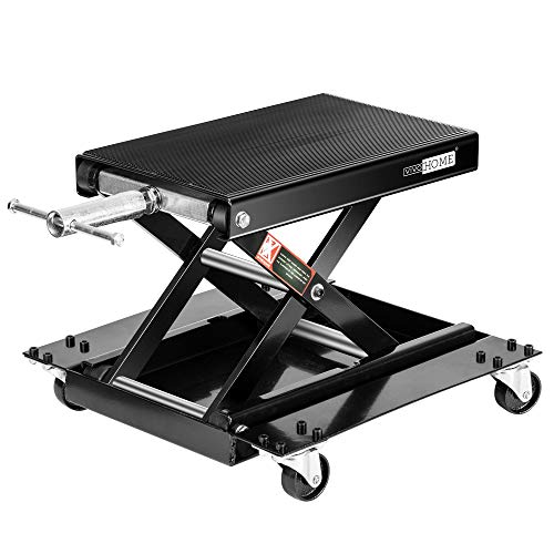 VIVOHOME 1100 Lbs Steel Wide Deck Motorcycle Lift ATV Scissor Lift Jack with Dolly and Hand Crank Bikes Garage Repair Hoist Stand Black