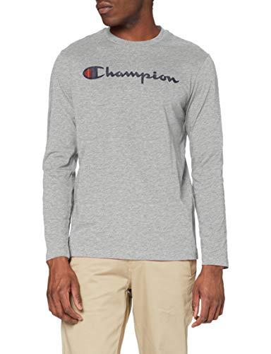 Champion Uomo - Maglietta Manica Lunga Classic Logo - Grigio, XL