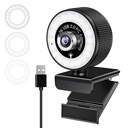 Webcam con Micrófono y Anillo de Luz, Cámara Web para Video Chat y Grabación, Webcam Portátil para PC, Cámara Webcam para Ordenador para Youtube, Skype, Zoom, Xbox One y Conferencias