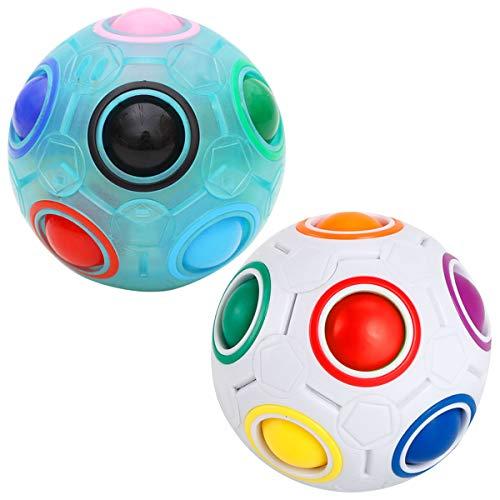 Coolzon Mágico Bola de Cubo de Velocidad, Bola Mágica de Arco Iris 3D Juguetes para niños Adolescentes Adultos, Paquete de 2