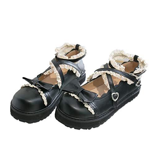 Vrouwen Sweet Mary Jane Schoenen Klassiekers Ronde Neus Enkel Gesp Japanse Lolita Schoenen Casual Ondiepe Mond Platform Wiggen Loafers