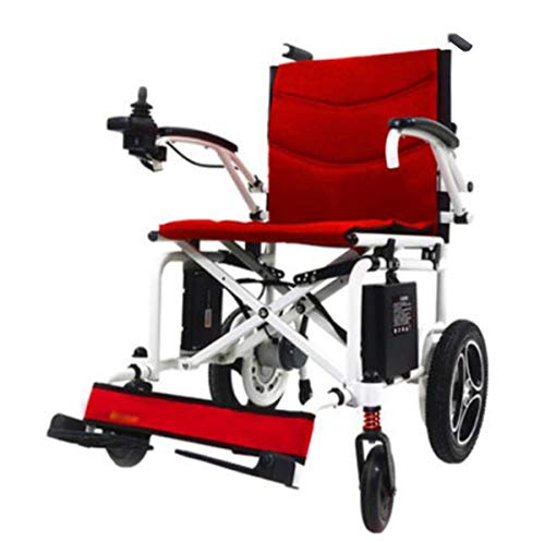 BYCDD Elektrische rolstoelen voor motor, opvouwbaar, lichtgewicht rolstoelen, opvouwbaar, met verstelbare voetsteunen voor transport en opslag
