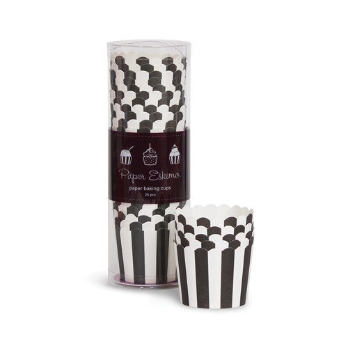 25 Schwarz Weiß gestreifte Back- & Eis-Förmchen – Cupcake-Förmchen