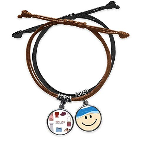 Bestchong Bohe mia Wind Fashion Clothes Girl Bracelet Rope Hand Chain Leather Smiling Face Wristband