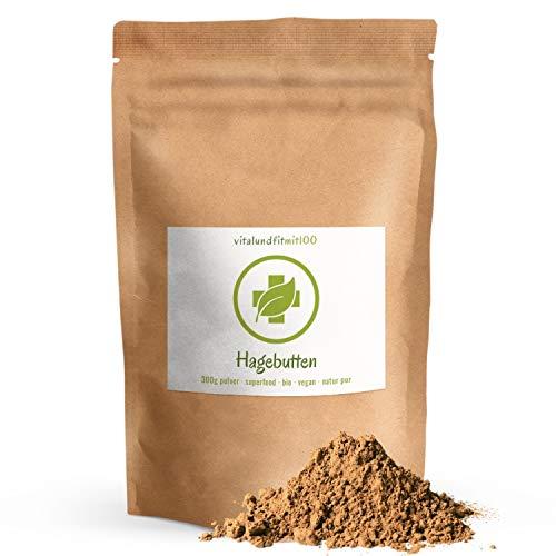 Bio Hagebuttenpulver - 300 g - naturrein - aus argentinischen Bio-Hagebutten gewonnen - enthält Vitamin C - in Rohkostqualität - 100% vegan und rein - OHNE Hilfs- u. Zusatzstoffe
