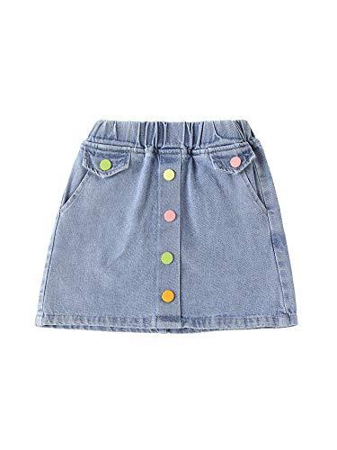 Gureui Baby Girls Summer Denim Skirt Solid A Line Elastic Waist Colored Button Short Mini Skorts Skirts with Pockets (#1Blue, 8-9 Years)