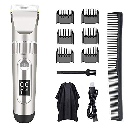 Aparador de cabelo masculino profissional AWECOT, silencioso, sem fio, kit para corte de cabelo, aparador de barba, recarregável por USB, kit de higiene masculina com 2 velocidades de aparagem, visor de LED, para uso doméstico