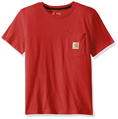 Carhartt Boys' Little Short Sleeve Pocket Tee T-Shirt, Tango Red, 6