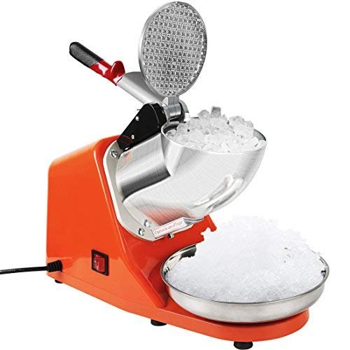 VIVOHOME Electric Ice Crusher Shaver Snow Cone Maker Machine Orange 143lbs/hr for Home and Commerical Use ETL Safety Standard Certified