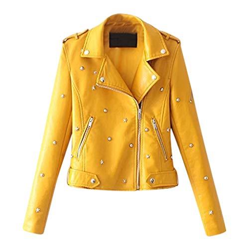 BBring Damen Niet Lederjacke, Revers Reißverschluss Mantel Wasserdicht Casual Outwear Herbst Winter Langarm Oberteile Tops (S, Gelb)