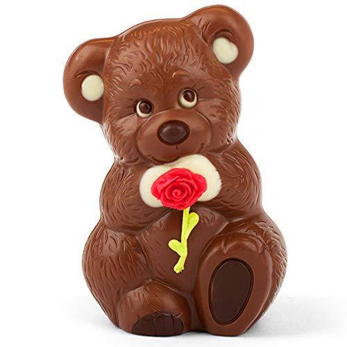 """Valentinstag Schokolade Bär \""""Rosenkavalier\"""" aus feinster Vollmilch-Kuvertüre mit Marzipan Rose - Deutsche Handarbeit ideal als Geschenk - 115g"""