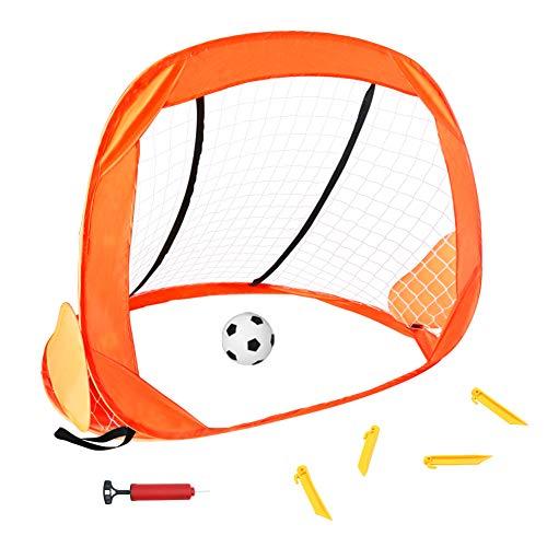 Fussballtor Kinder Pop-Up Fussball Tornetz mit Tragetasche Sport Geschenk Spielzeug für Kinder Junge Mädchen ab 3 4 5 6 Jahren (MEHRWEG)
