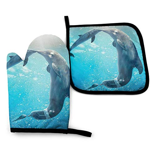 VGFJHNDF Kiss Dolphin Tale Pattern Oven Mitts and Pot Holders,Resistant Hot Pads with Polyester Non-Slip BBQ Gloves for Kitchen,Cooking,Baking,Grilling