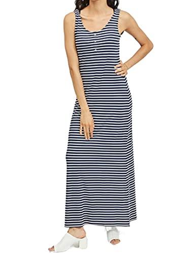 Vila Videll Maxi S/l Dress-Noos Vestido, Rayas: Blanco Nieve 1.0 0.4 Blazer Azul Marino, 38 para Mujer