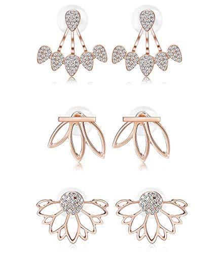 Milacolato Flor de Loto Moda Pendientes Chaquetas para Mujer Niñas Pendientes de botón de oreja Chic Conjunto