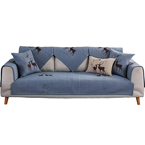 YUTJK Composable Antideslizante Resistente Anti-Suciedad Sofá Cubierta,Funda Protector De Los Muebles,Cojín de sofá de algodón con diseño de Alces,Puede ser Alfombra,Azul