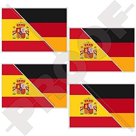 Spanien Deutschland Spanisch Deutsch Flagge 100mm Auto Motorrad Aufkleber X2 Vinyl Stickers Garten
