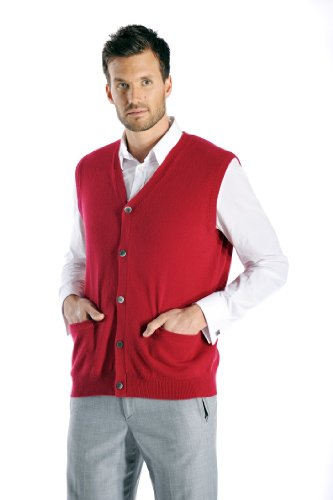 Cashmere Boutique: Men's 100% Pure Cashmere Sleeveless Cardigan Vest Sweater (Color: Burgundy, Size: Large)