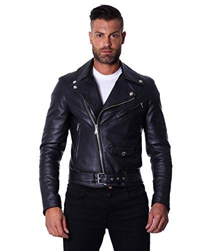 D'Arienzo Lederjacke Herren schwarz Echtleder Italienisch Schwarz Biker Leder Lammleder Jacke Motorrad CHIODO