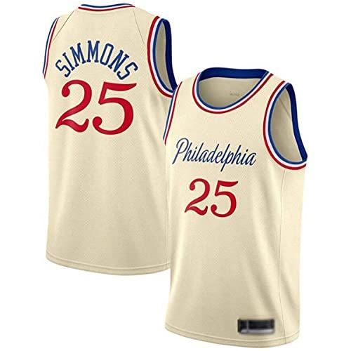 Jersey Men's NBA 76ers 25# Simmons Cómodo/Ligero/Transpirable Malla Bordada Swing Swing Camiseta Retro Sudadera,A,S