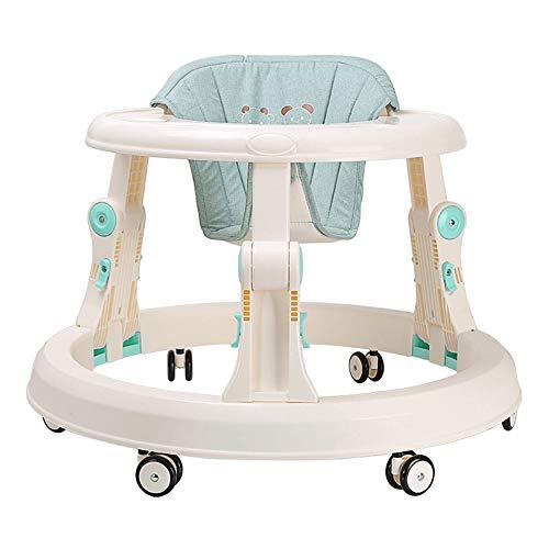 FLWVDFG Andador BebéS, Andador De Actividad Plegable Ajustable En Altura, Andador De Actividad con Asiento Acolchado con Respaldo Alto,Verde