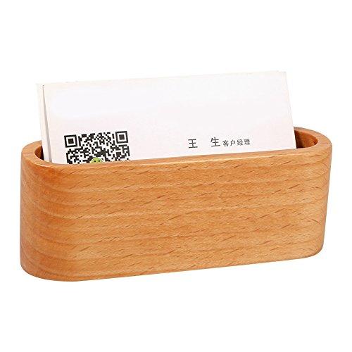 Soporte de tarjeta de visita de madera Caja de almacenamiento Organizador Adornos de escritorio de oficina(Amarillo)